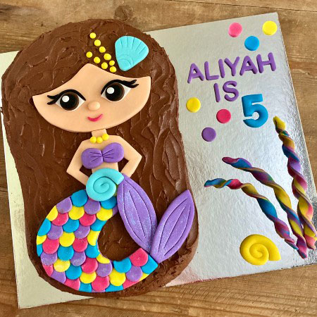 easy mermaid cake for ariel themed parties in a DIY cake kit from Cake 2 The Rescue
