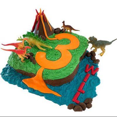 dinosaur volcano island birthday boy or girl cake DIY cake kit from Cake 2 The Rescue