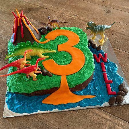 dinosaur volcano island first birthday DIY cake kit from Cake 2 The Rescue